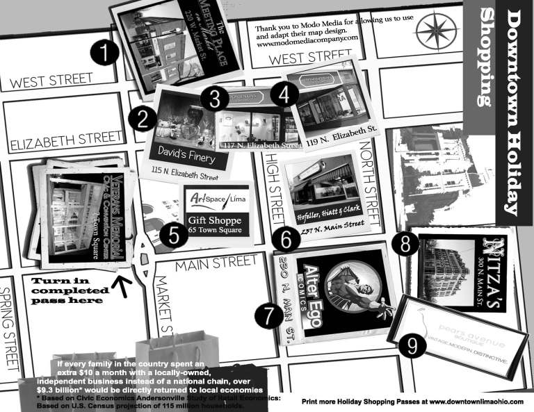 Downtown Lima Holiday Shopping MAP