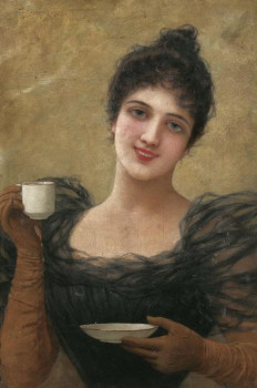 Dame mit Kaffeetasse