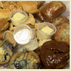 Bakery tray with muffins and bagels